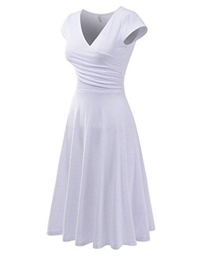 (NEARKIN (NKNKWMD724 Womens Figure-Hugging Chest Oblique Wrap-Around Short Sleeve Midi Dress White US L(Tag Size XL))