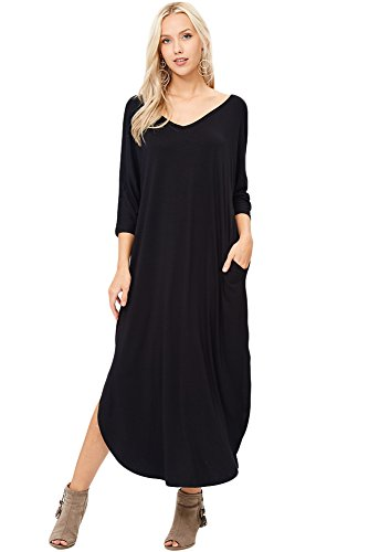 Annabelle Women's Solid Color V-Neck Back Cut Out Quarter Sleeve Maxi Pocket Dresses Black Large D5265
