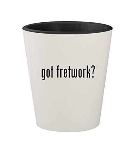 - got fretwork? - Ceramic White Outer & Black Inner 1.5oz Shot Glass