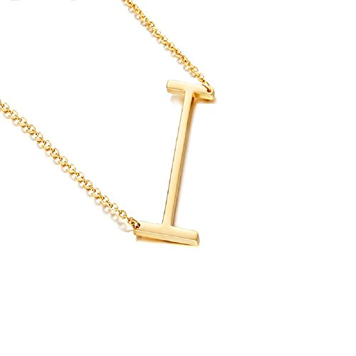 DIANE LO'REN 18K Gold Plated Sideways Initial Charm Necklace (I) ()