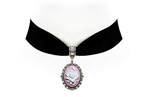 Victorian Vault Rose on Pink Cameo Gothic Steampunk Victorian Pendant on Choker