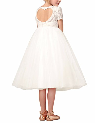 MSemis Flower Girl Lace Dress Heart Back Wedding Party Formal Communion Dresses Ball Gown White 6 ()