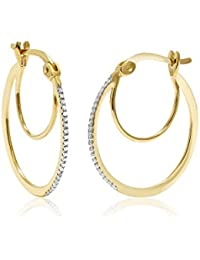 10K Yellow Gold Women's Diamond Hoop Earrings (0.066 Cttw, 1 Inch Round Cut, I-J Color, I1-I2 Clarity)