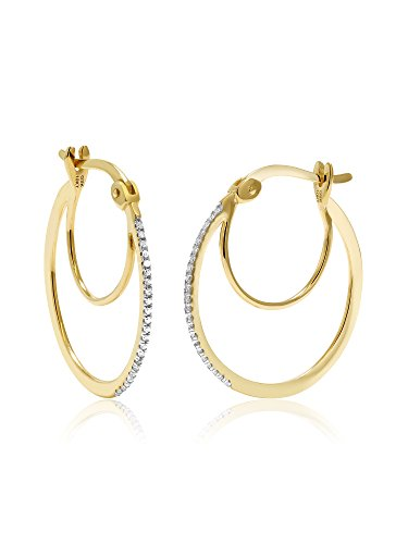 10K Yellow Gold Women's Diamond Hoop Earrings (0.066 Cttw, 1 Inch Round Cut, I-J Color, I1-I2 (10k I1 Earrings)