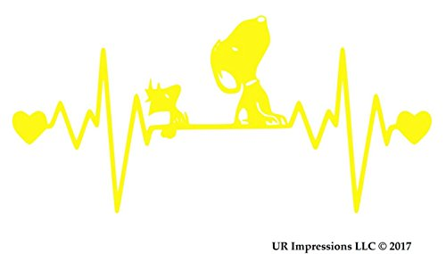UR Impressions BYel Snoopy and Woodstock Heartbeat Decal Vinyl Sticker Graphics for Car Truck SUV Van Wall Window Laptop|Bright Yellow|7.5 X 4 -