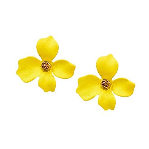 (Maserfaliw Earrings Fashion Girls Flower Ear Studs Women All-Match Date Party Travel Dangler Gift - Yellow )