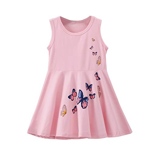 Baby Girls Toddler Kids Butterfly Print Dress Clothes Sundress Casual Party Dresses (4-5 Years, Pink Princess Dress)