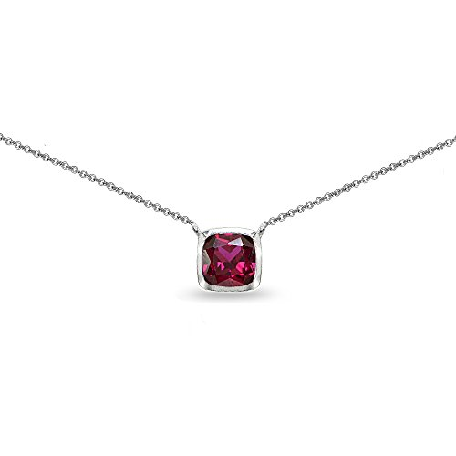 Sterling Silver Created Ruby Cushion-Cut Bezel-Set Solitaire Choker Necklace ()