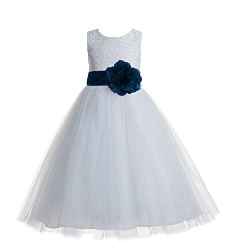 - ekidsbridal Floral Lace Heart Cutout White Flower Girl Dresses Peacock First Communion Dress Baptism Dresses 172T 8