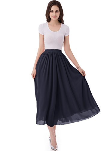 emondora Women's Chiffon Long A-line Retro Skirts Pleated Beach Maxi Skirt Navy Size XL Ballerina Length Long Gown