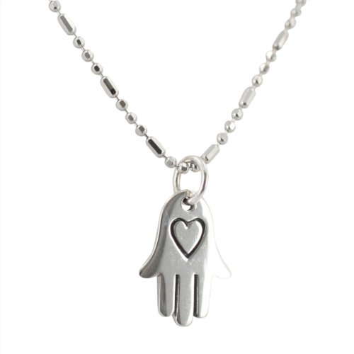 Hamsa Hand and Heart Pendant Necklace in Sterling Silver on a 16