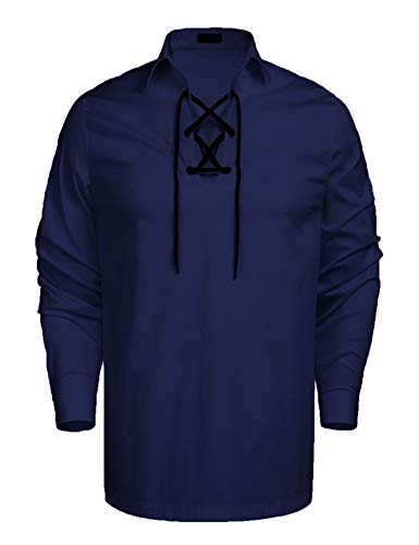 Coofandy Mens Scottish White Jacobite Ghillie Kilt Shirt Blue S, Navy Blue, ()