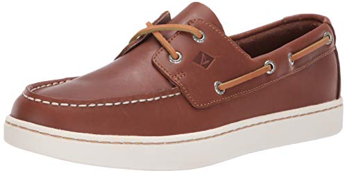 SPERRY Men's Cup 2-Eye Leather Boat Shoe, Tan, 10