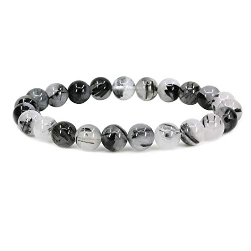 Natural Black Rutilated Quartz Gemstone 8mm Round Beads for sale  Delivered anywhere in Canada