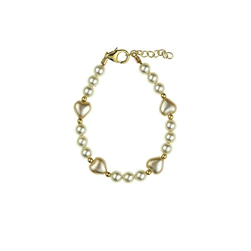 Crystal Dream Elegant Ivory Swarovski Simulated Pearls Heart Gold Beads Luxury 14KT Gold-Filled Baby Girl Bracelet (BHII_S)