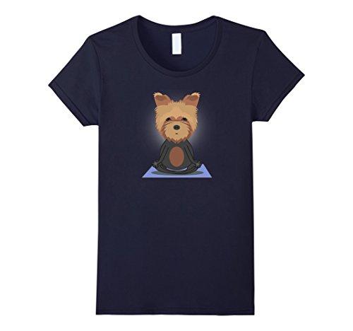 Women's The Yorkshire Terrier  Yoga T-Shirt Large Navy