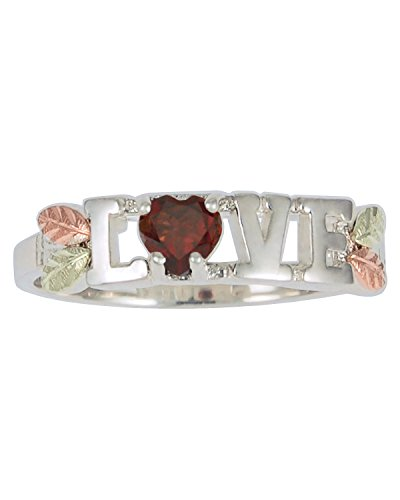 Garnet 'Love' Heart Ring, Sterling Silver, 12k Green and Rose Gold Black Hills Gold Motif, Size 8.5 by The Men's Jewelry Store (for HER)