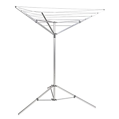 Household Essentials 17125-1 Portable Umbrella Drying Rack | Aluminum | 18-Lines with 64 ft. Clothesline - INDOOR/OUTDOOR UMBRELLA DRYER with 18 vinyl lines for hanging and air drying laundry 64 FEET OF TOTAL DRYING SPACE with free standing tripod base SINGLE ACTION open and close, helps save space when not in use; ready for installation - laundry-room, entryway-laundry-room, drying-racks - 31EJ5RXp%2BLL. SS400  -