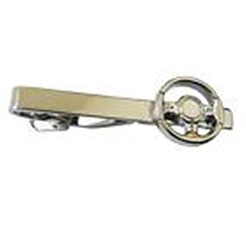 [Mondaily - Steering Wheel Car Racer Tie Clip Silver Black Wedding Bar Clasp #PPTE5018] (Racer Girl Romper Costumes)
