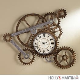Holly and Martin Zion Hand Painted Wall Art with Clock (Pottery Barn Clock)