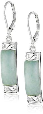 Sterling Silver Jade Dangle Earrings