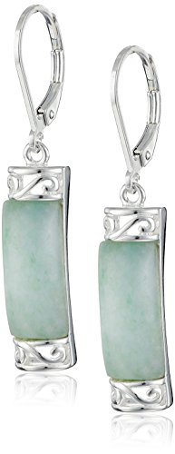 Sterling Silver Jade Dangle Earrings (Color Jade Earring)
