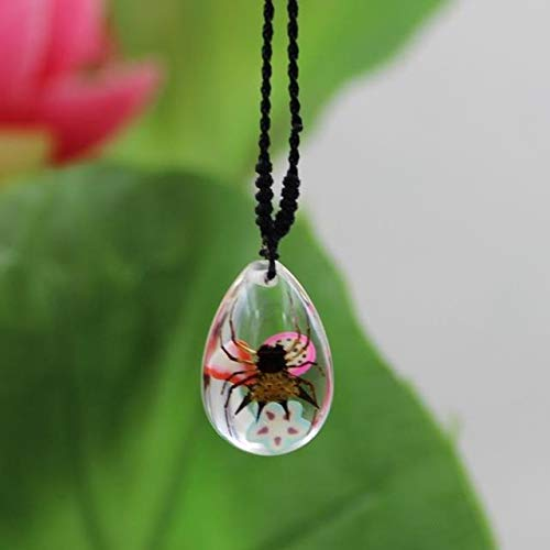true artificial insect amber necklace pendant chain lemon wedges spider fashion jewelry gift ideas for holiday gifts (corner spider ()