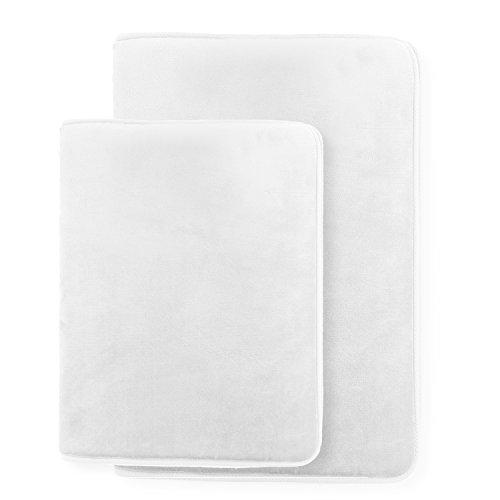 Clara Clark 2-Pack Bath Mat Set – Large and Small Bathroom Rug Set, Absorbent Memory Foam Bath Rugs, Non-Slip, Thick, Cozy Velvet Microfiber Bathrug, Plush Shower, Toilet Floor Bathmats Carpet, White