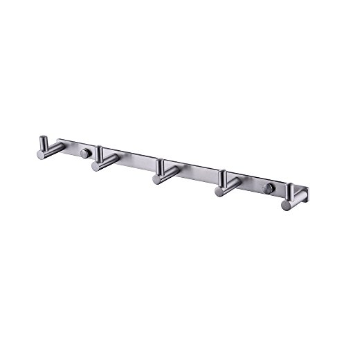 KES A2160H5-2 Bathroom Towel Rail/Rack with 5 Hooks Wall Mount SUS304 Stainless Steel, BRUSHED FINISH