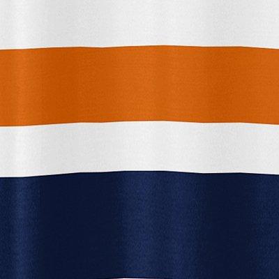 Sweet Jojo Designs Navy Blue Orange and White Kids Bathroom Fabric Bath Teen Stripe Shower Curtain