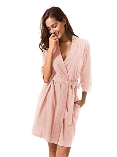 - SIORO Women's Kimono Robes Cotton Lightweight Bath Robe Knit Bathrobe Soft Sleepwear V-Neck Ladies Nightwear,Pearl Pink M