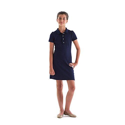French Toast Girls' Big Short Sleeve Ruffle Placket Polo Dress, Navy, M (7/8) by French Toast (Image #3)