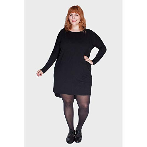 Vestido Mullet Plus Size Preto-48/50