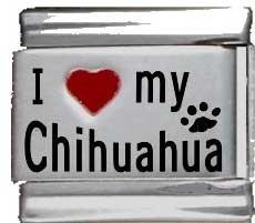 I Heart My Chihuahua Red Heart Laser Italian Charm