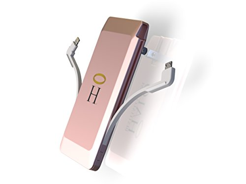 HALO Sleek 3500 Portable Phone Tablet Battery Charger Power Bank with Built in Lighting and Micro Cables, Rose Gold
