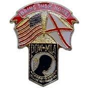 Metal Lapel Pin - POW/MIA Pin - USA & State Flags - POW*MIA Alabama 1-1/4