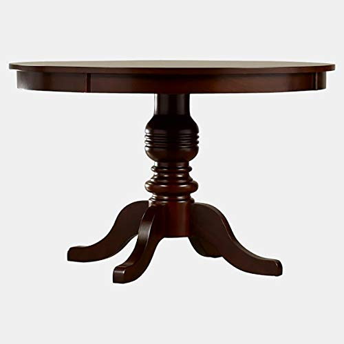 Wood Dining Table with Curved Legs - Round Dining Table - Brown Cherry