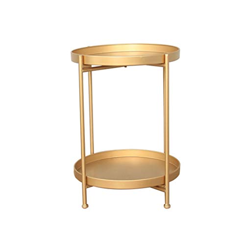 L-Life End Tables Side Table Wrought Iron 2 Tier Storage Small Round Coffee Table End Table, Simple Bedside Living Room Balcony Reading Table Sofa Table (Color : Golden)