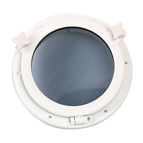 "Amarine-made Boat Yacht Round Opening Portlight Porthole 10"" Replacement Window Port Hole - ABS, Tempered Glass -Marine/Boat/rv Portlight Hatch, Color: White(Ring not Included)"