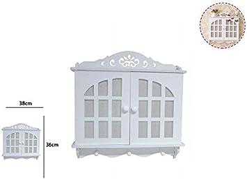 Takestop® - Caja porta llaves de madera blanca RF_65397 con estante, 2 puertas, llavero, casita con 3 ganchos de pared, para colgar llaves, casa, decoración, casa, Shabby Key Box: Amazon.es: Electrónica
