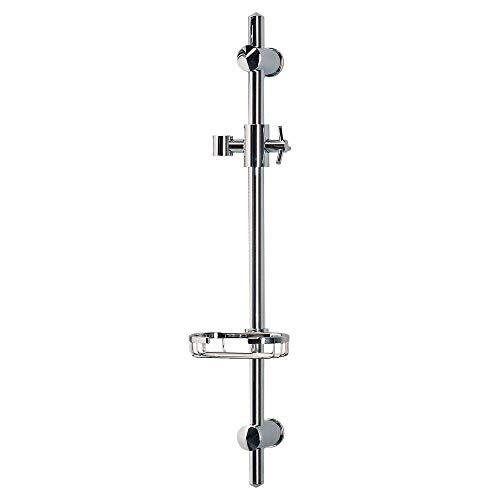 PULSE ShowerSpas 1010-CH Adjustable Slide Bar for Hand Shower with Wire Basket Soap Dish, Polished Chrome