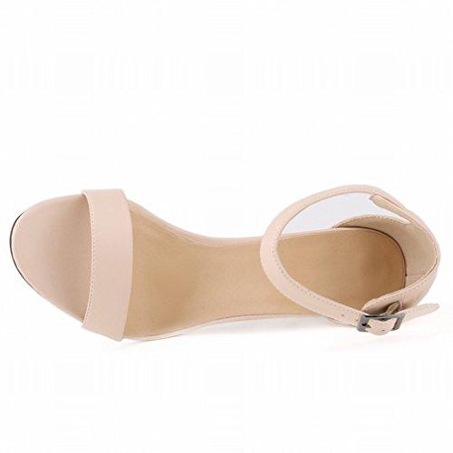 HooH Damen High Heel Sandalen Sommer Peep Toe Ankle Strap Schnalle Pumps Beige-1