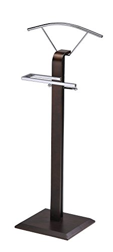 Kings Brand Furniture Modern Chrome/Walnut Suit Rack Valet Stand (Best Modern Furniture Brands)