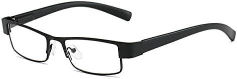 RJGOPL des lunettes de soleil LeonLion Quadrado Dos Homens do Métal Reading Oculos Hypermetropia Óculos Não Verres pour entreprise sphériques Retro Velho Black +300