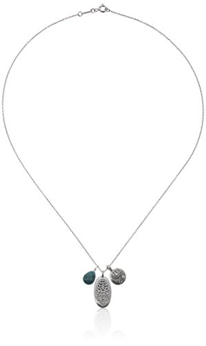 Satya Jewelry Classics Sterling Silver Turquoise Hamsa Lotus Necklace 18-Inch