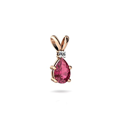 (14kt Rose Gold Pink Tourmaline and Diamond 6x4mm Pear Solitaire Pendant )