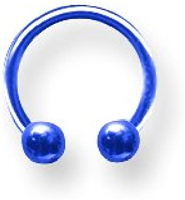 8mm Dia w 3mm Balls Cobalt Bl Jewelry by Sweet Pea Solid Titanium Circ BB 16G 5//16 1.3mm