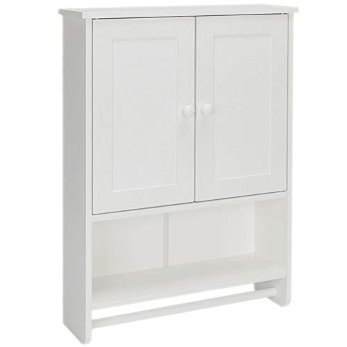 Wall Cabinet Wood Bathroom Storage Organizer Modern Medicine Cabinet Cottage Collection with Towel Bar 2 Doors 1 Shelf Wall Mounted White Color