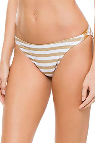 (Miss Mandalay Women's Ring Side Hipster Bikini Bottom Gold/White Stripe XS)