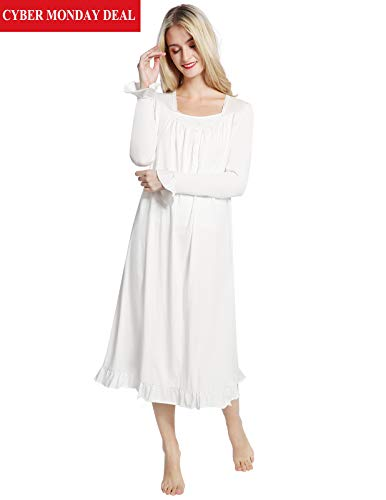 AMONIDA White Victorian Nightgowns for Women Lace Long Sleeve Pajama for Christmas -